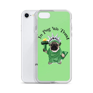 Green Lady Liberty Pug iPhone Case | In Pug We Trust - mrscopycat