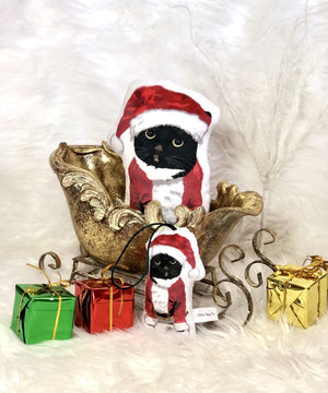 Tuxedo Cat Shaped Plush Christmas Ornament-MrsCopyCat