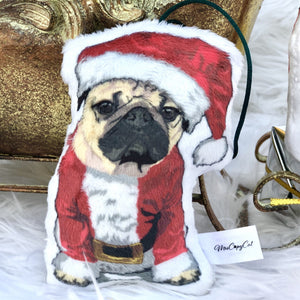 Santa Pug Shaped Plush Pillow | Senior Pug-MrsCopyCat