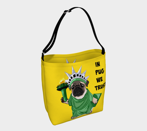 "Lady Liberty Pug Day Tote ""In Pug We Trust"" Neoprene Shoulder Bag"