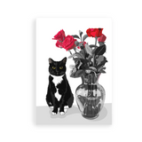 Tuxedo Cat Greeting Card | Roses-MrsCopyCat