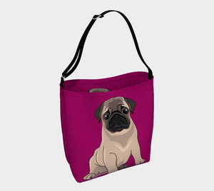 Pug Puppy Day Tote magenta - Neoprene Shoulders Bag