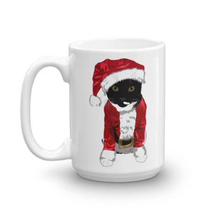 Santa Cat Coffee Mug | Tuxedo Cat Christmas Mug - mrscopycat