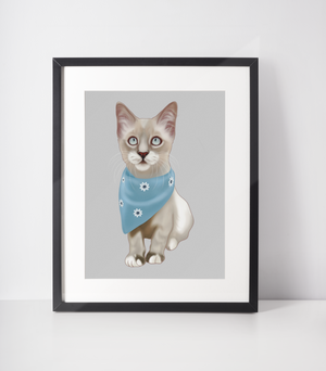 Lynx Seal Point Siamese Cat Art Print | Sully-MrsCopyCat