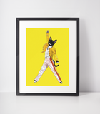 Freddie Mercury Cat Art Print | Queen Fan Art-MrsCopyCat