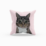 Gray Tabby Cat Throw Pillow-MrsCopyCat