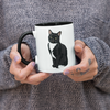 "Tuxedo Cat Ceramic Coffee Mug | Black Handle ""Paloma"""