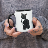 "Tuxedo Cat Ceramic Coffee Mug | Black Handle ""Paloma""-MrsCopyCat"