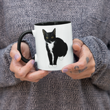"Tuxedo Cat Coffee Mug | Black Handle ""Picasso""-MrsCopyCat"