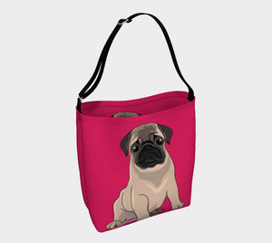 Pug Puppy Day Tote pink - Neoprene Shoulders Bag