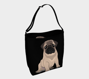 Pug Puppy Day Tote black - Neoprene Shoulders Bag