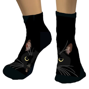 Tuxedo Cat Face Athletic Ankle Socks | Paloma-MrsCopyCat