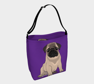 Pug Puppy Day Tote purple - Neoprene Shoulders Bag