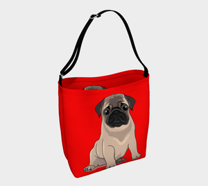 Pug Puppy Day Tote red - Neoprene Shoulders Bag