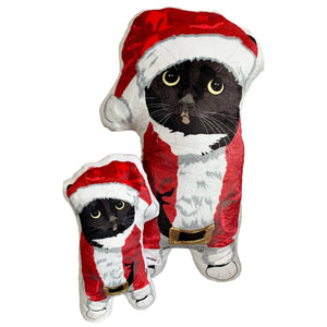Tuxedo Cat Shaped Santa Plush Pillow | Paloma-MrsCopyCat