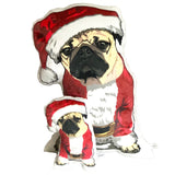 Santa Pug Plush Pillow | Senior Pug - mrscopycat