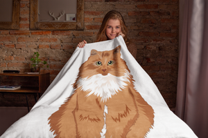 Orange Medium Hair Cat Throw Blanket-MrsCopyCat