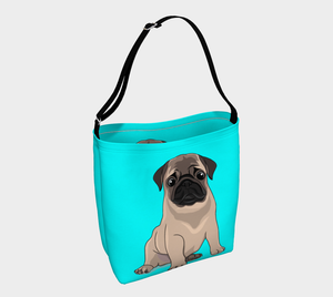 Pug Puppy Day Tote turquoise - Neoprene Shoulders Bag