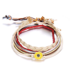 5 Piece Sunflower Bracelet Set