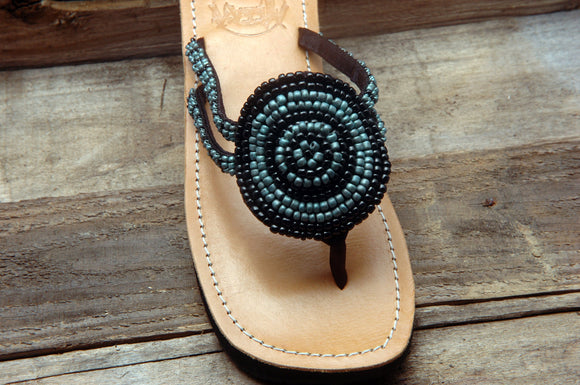 Ashley Sandal - Black/Turquoise- Sizes 6-7 SALE
