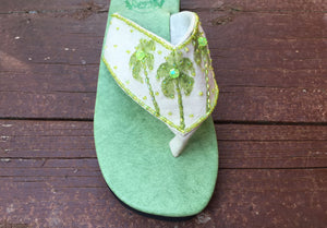 Painted Palm Tree Sandal - Lime- Sizes 6-7-9-10 - SALE