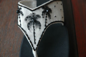 Painted Palm Tree Sandal - Black- Size 6 - SALE