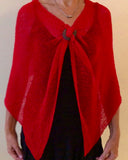 Knit Poncho Scarf - Red