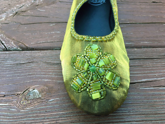 Ballet Slipper - Olive - Sizes 7-8-9 -SALE
