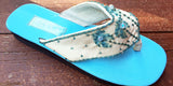 Painted Palm Tree Sandal - Lt. Blue- Sizes 6 and 10 - SALE