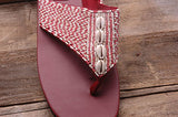 Shell Sandal - Burgundy - Sizes 6-7-10 - SALE