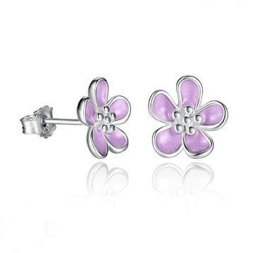Sterling Silver Apricot Blossom Earrings - Alex Aurum