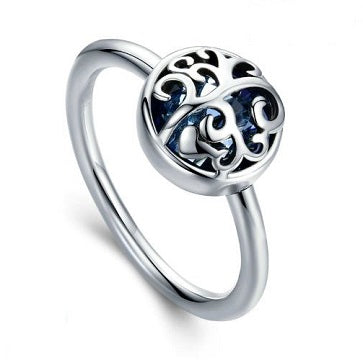 Sterling Silver Overlace Design Ring - Blue - Alex Aurum