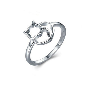 Sterling Silver Cat Ring - Alex Aurum
