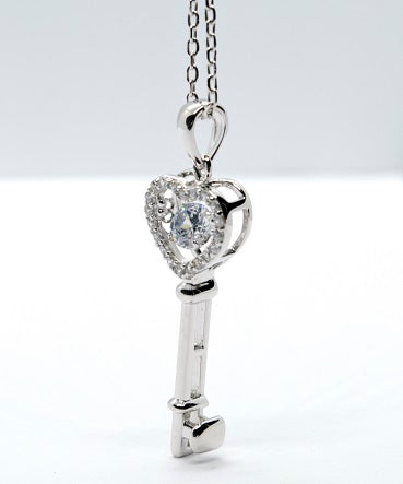 Sterling Silver Dancing Stone Key Pendant - Alex Aurum