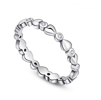 Sterling Silver Hearts Stacking Ring - Alex Aurum