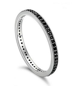 Sterling Silver Eternity Band - Black - Alex Aurum