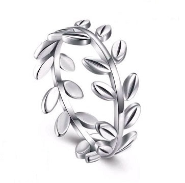 Sterling Silver Olive Leaves Ring - Alex Aurum