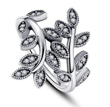 Sterling Silver Leaves Design Ring - Alex Aurum