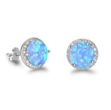 Sterling Silver Synthetic Opal Earrings - Alex Aurum