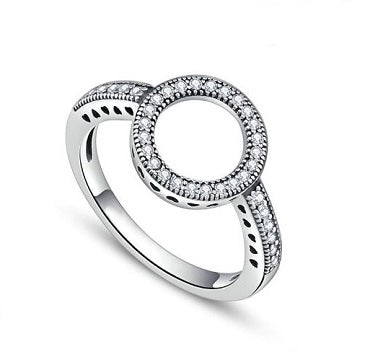 Sterling Silver Circle Top Hearts Ring - Alex Aurum