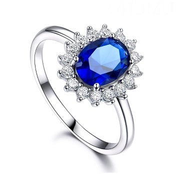 Sterling Silver Created Sapphire Ring - Alex Aurum
