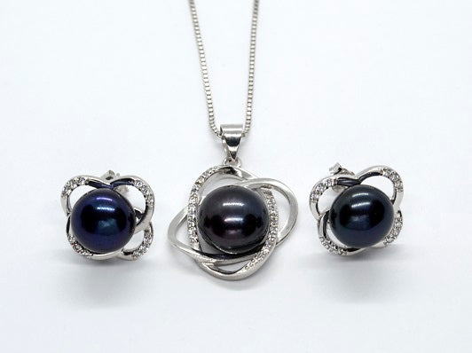 Knot Pendant and Earrings Set - Black Pearl