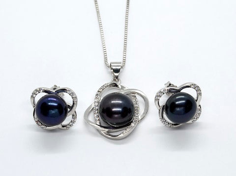 Sterling Silver Knot Pendant and Earrings Set - Black Pearl - Alex Aurum