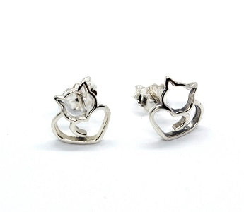Sterling Silver Cat Earrings - Alex Aurum