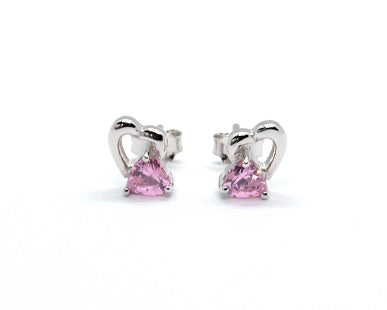 Pink Heart Sterling Silver Earrings - Alex Aurum