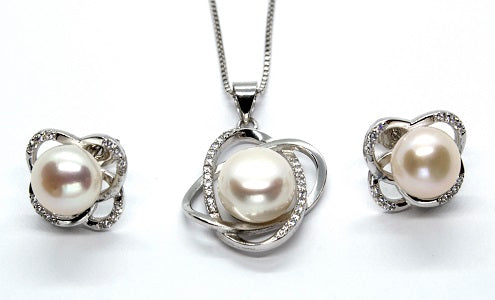Sterling Silver Knot Pendant and Earrings Set - White Pearl - Alex Aurum