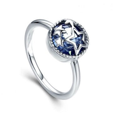 Sterling Silver Overlace Stars Ring - Blue - Alex Aurum