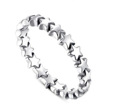 Sterling Silver Stars Stacking Ring - Alex Aurum