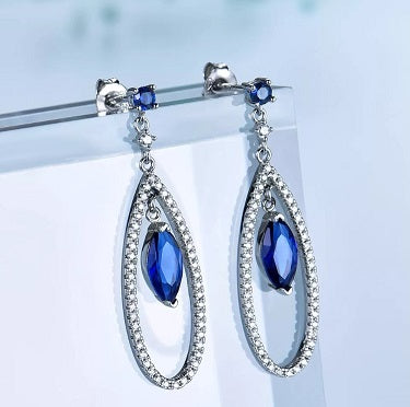 Created Sapphire Tear Drop Earrings
