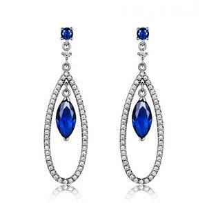 Sterling Silver Created Sapphire Tear Drop Earrings - Alex Aurum